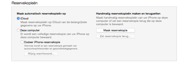 Reservekopie iPhone iPad op iTunes